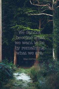 we cannot become who we want to be by remaining who we are